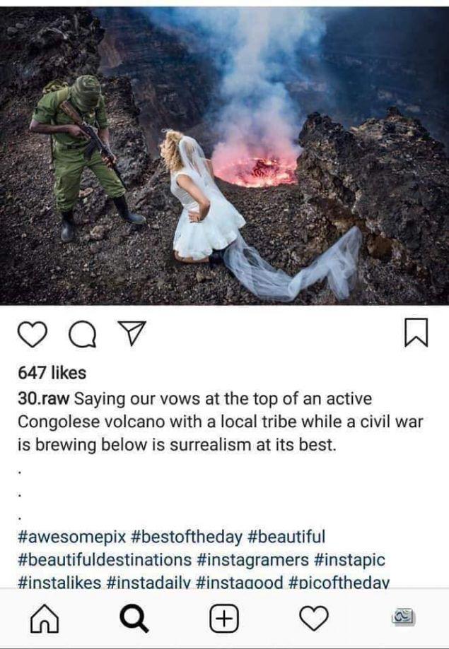 Η γυναίκα είναι ντυμένη με το νυφικό της μπροστά σε ένα ενεργό ηφαίστειο