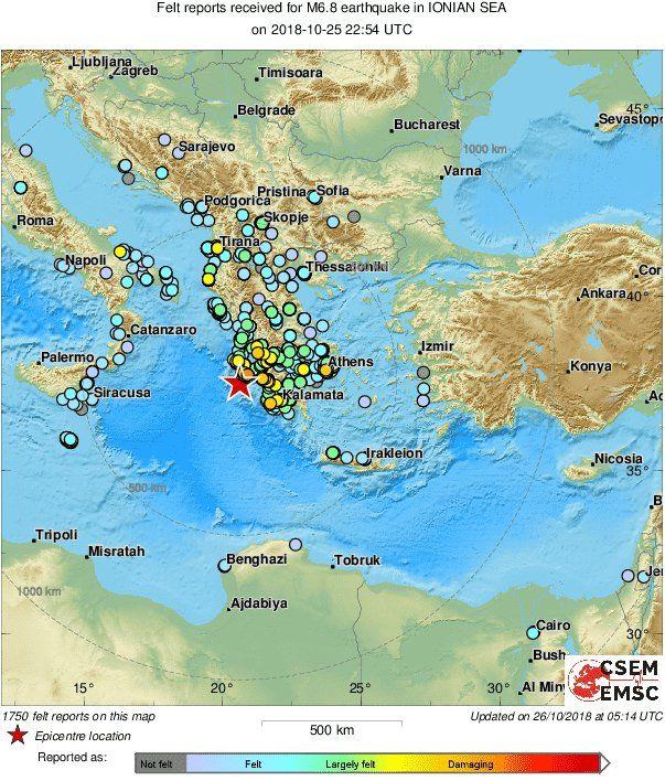 Η αναθεώρηση του Ευρωμεσογειακού Ινστιτούτου σε 6,8 Ρίχτερ
