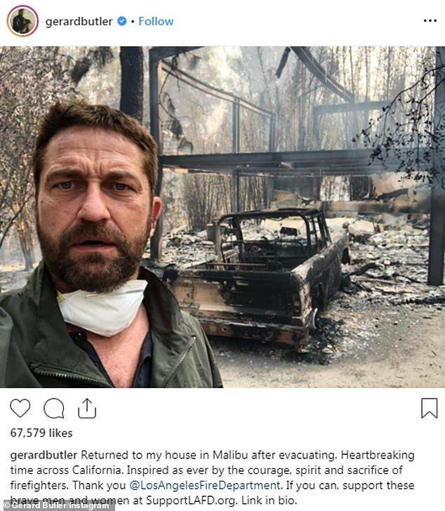 Αποκαΐδια το σπίτι του Τζέραλντ Μπάτλερ στο Μαλιμπού.
