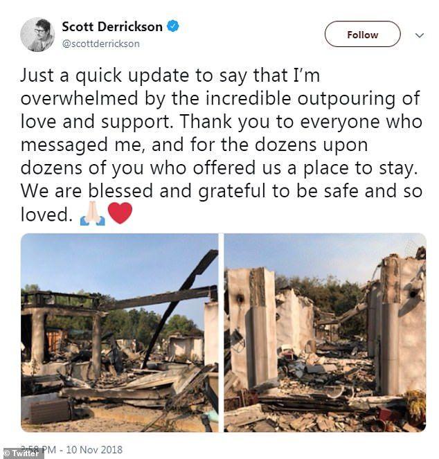 Είμαστε ευγνώμων που είμαστε ασφαλείς, έγραψε ο σκηνοθέτης μετά την φονική πυρκαγιά που χτύπησε το σπίτι του.
