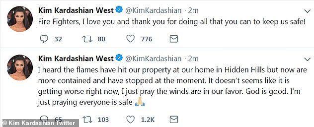 «Ακουσα πως από τις φωτιές χτυπήθηκε η έπαυλή μας στο Χίντεν Χιλς, αλλά τώρα έχει σταματήσει. Δεν φαίνεται να χειροτερεύει.Προσεύχομαι οι άνεμοι να είναι με το μέρος μας. Ο θεός είναι καλός. Προσεύχομαι ο καθένας να είναι ασφαλείς»,έγραψε η Κιμ Καρντάσιαν.