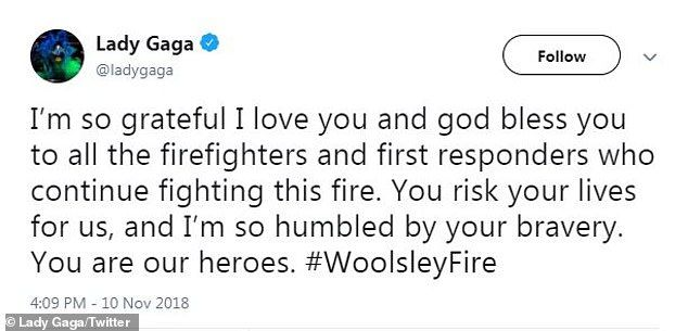 H Lady Gaga ευχαριστεί δημοσίως τους πυροσβέστες αφότου έφυγε από το σπίτι της.