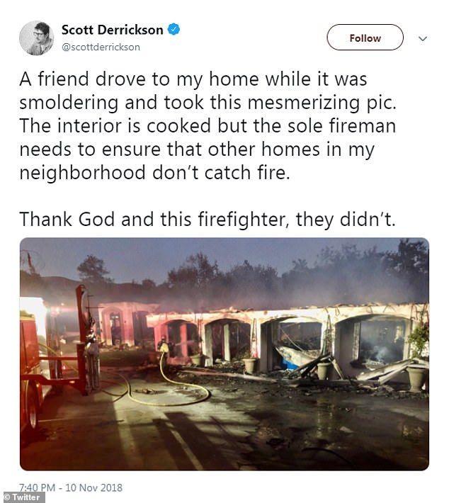 To σπίτι του διάσημου σκηνοθέτη Σκοτ Ντέρικσον, κάηκε ολοσχερώς.