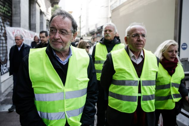 Τα κίτρινα γιλέκα εμφανίστηκαν και στην Αθήνα...-φωτογραφία eurokinissi