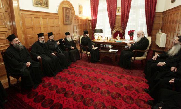 Αντιπροσωπεία του Ιερού Συνδέσμου Κληρικών Ελλάδος επισκέφθηκε σήμερα τον αρχιεπίσκοπο Ιερώνυμο