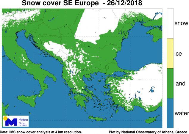 χάρτης χιονοκάλυψης σε Ελλάδα και ΝΑ Ευρώπη -Πηγή ΕΑΑ-meteo