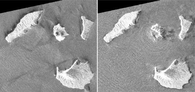 Δορυφορικές δφωτογραφίες που τραβήχτηκαν πριν και μετά την έκρηξη του ηφαιστείου