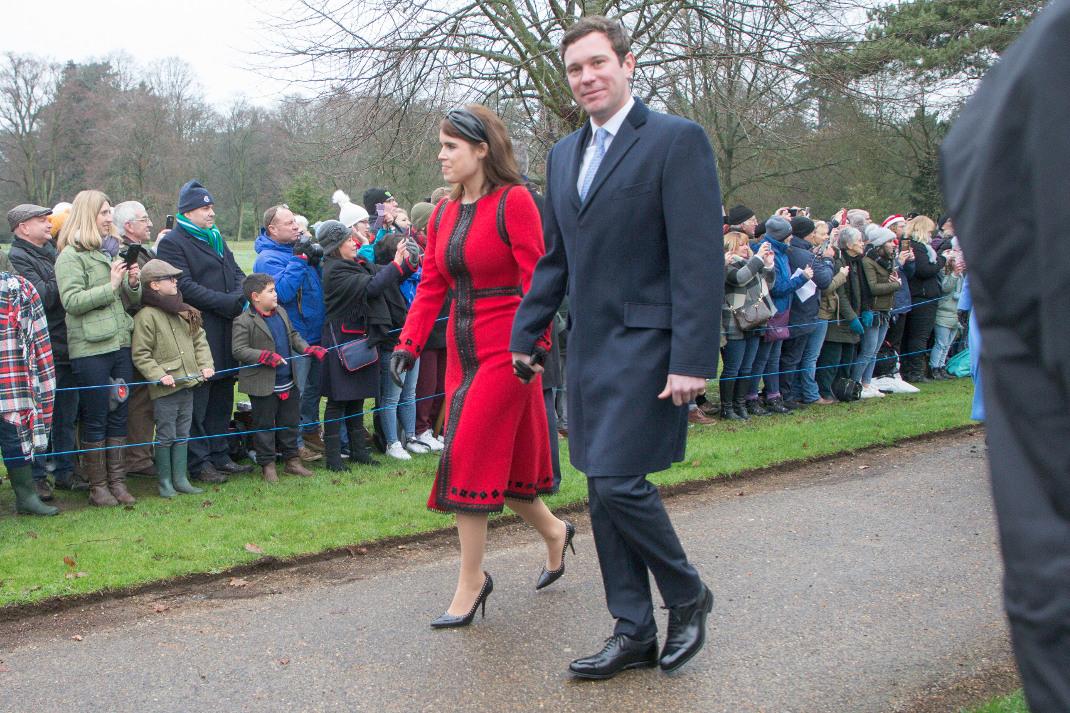 Η πριγκίπισσα Ευγενία και ο σύζυγός της την ημέρα των Χριστουγέννων/ Φωτογραφία: Splash/ Ideal Image