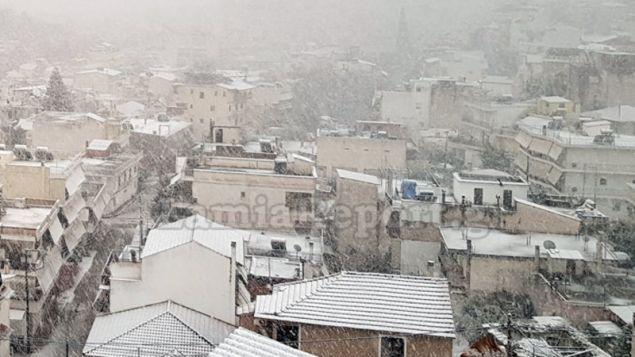 Από νωρίς το πρωί ξεκίνησε η χιονόπτωση μέσα στην πόλη της Λαμίας