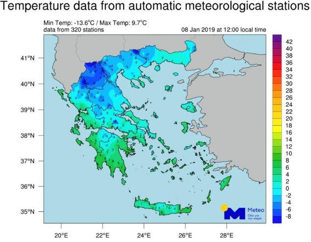 Ο χάρτης θερμοκρασιών της ΕΜΥ (8 Ιανουαρίου, ώρα 12:00) / Πηγή: EMY