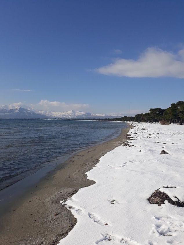 Aνίκητος ο συνδυασμός χιονιού και θάλασσας / Φωτογραφία: Twitter/@manoskrt