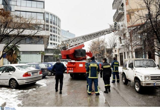 Το κλιμακοφόρο της Πυροσβεστικής / Φωτογραφία: InTime News