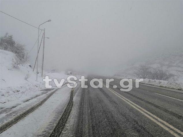 Εντονη χιονόπτωση στη Στερεά, φωτογραφία: tvstar