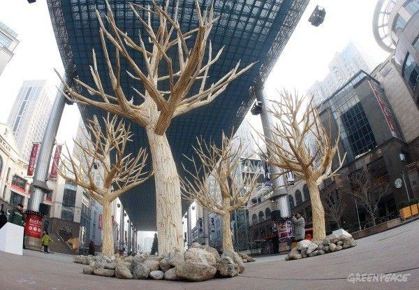 Τα δέντρα στήθηκαν μέσα σε εμπορικό κέντρο