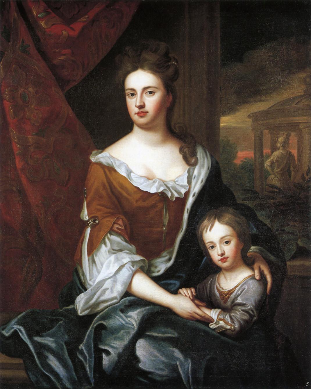 Η βασίλισσα Άννα με τον γιο της, Γουλιέλμο σε πίνακα του Godfrey Kneller, 1694/ Φωτογραφία: Wikipedia