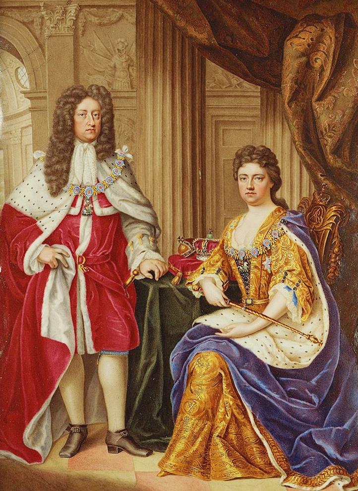 Η βασίλισσα Άννα με τον σύζυγό της, πρίγκιπα Γεώργιο της Δανίας -Ένα έργο του Charles Boit, 1706- Φωτογραφία: Wikipedia