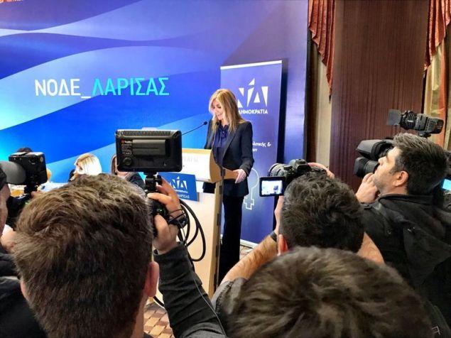 Η Μαρέβα Γκραμπόφσκι-Μητσοτάκη στην εκδήλωση της ΝΟΔΕ Λάρισας