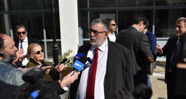 """Ο κ. Ζαφειρόπουλος σε δηλώσεις του προς εκπροσώπους των Μέσων Ενημέρωσης, στο περιθώριο του """"Οlympia Forum""""."""
