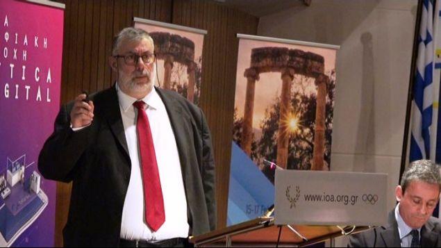 O Διευθύνων Σύμβουλος της «ΕΛΠΕ Ε&Π Υδρογονανθράκων Β.Δ. Πελοπόννησος Α.Ε.» κ. Γεώργιος Ζαφειρόπουλος, κατά την ομιλία του στο 1ου Αναπτυξιακό Συνέδριο Πελοποννήσου.