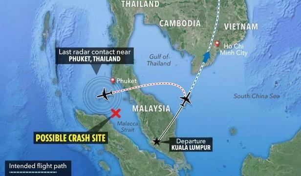 Στο χάρτη διακρίνεται το πιθανό σημείο συντριβής του αεροσκάφους στον Πορθμό της Μάλακκα (χάρτης: The Sun)
