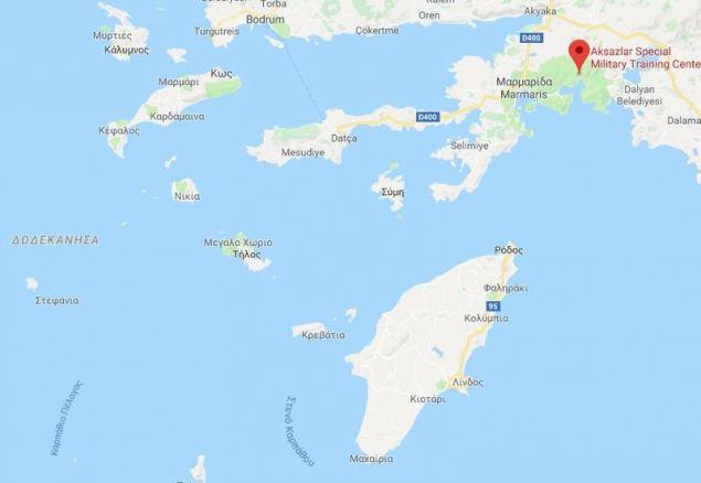 Η βάση του Ακσάζ απέναντι από τη Ρόδο / Πηγή: Google Maps