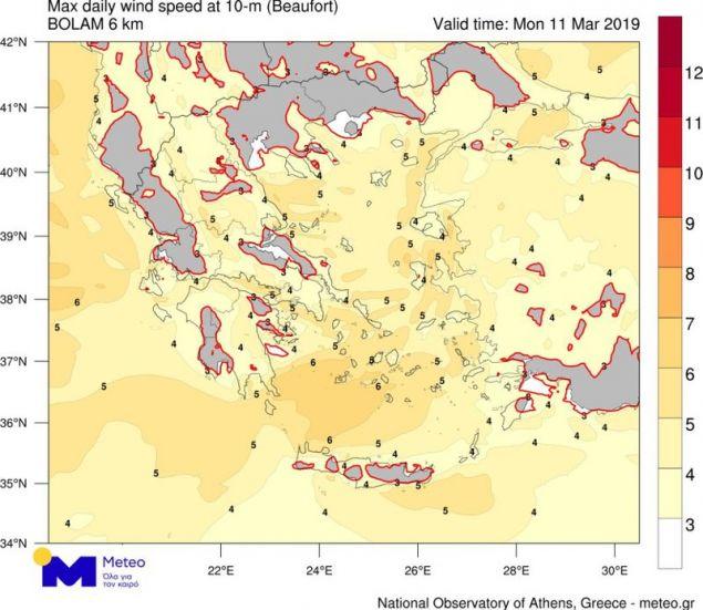 Με κίτρινο χρώμα οι περιοχές με τις ιδανικές συνθήκες για πέταγμα χαρταετού / Πηγή: meteo.gr