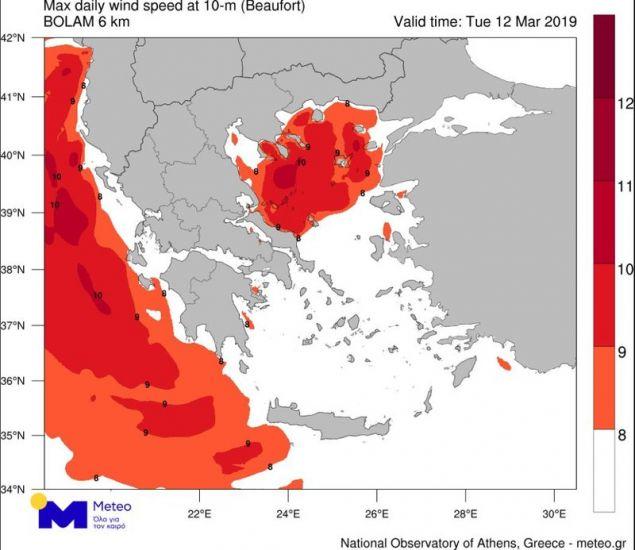 Με κόκκινο οι περιοχές που είχαν ανέμους ισχύος άνω των 8 μποφόρ / Πηγή: meteo.gr