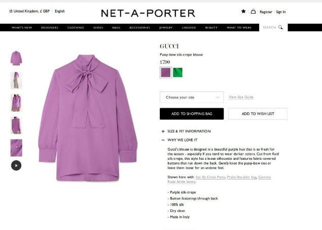 Η μπλούζα Gucci όπως την δείχνουν οι ιστοσελίδες αγοράς