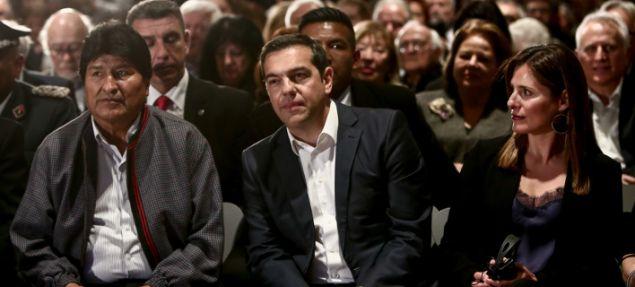 Από αριστερά: Εβο Μοράλες, Αλέξης Τσίπρας και Περιστέρα Μπαζιάνα