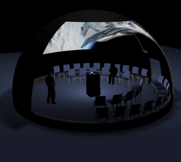 Πρόκειται για μία ημιμόνιμη φορητή κατασκευή σταθερού θόλου, με καρέκλες για τους θεατές