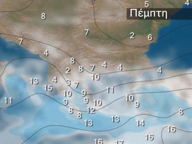 Ο καιρικός χάρτης για την Πέμπτη / Φωτογραφία: YouTube/kolydas.gr