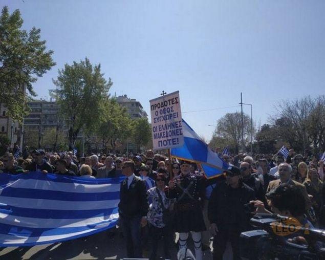 Στιγμιότυπο από την πορεία που ακολούθησε στη Θεσσαλονίκη