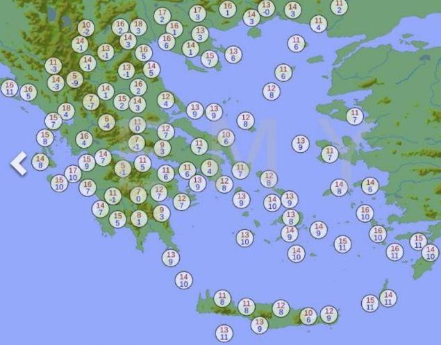 Οι θερμοκρασίες του Σαββάτου / Πηγή: hnms.gr