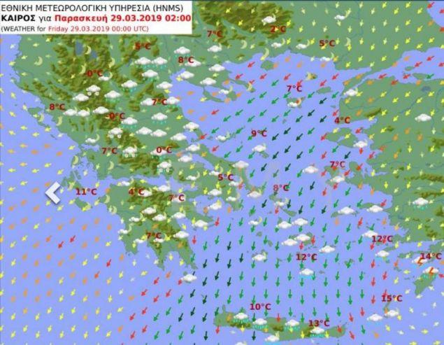 O προγνωστικός χάρτης της ΕΜΥ για την Παρασκευή / Πηγή: hnms.gr