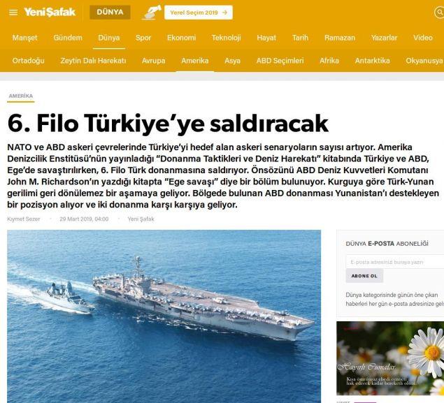 Το δημοσίευμα της Yeni Safak με τίτλο «Ο 6ος Στόλος θα επιτεθεί στην Τουρκία»