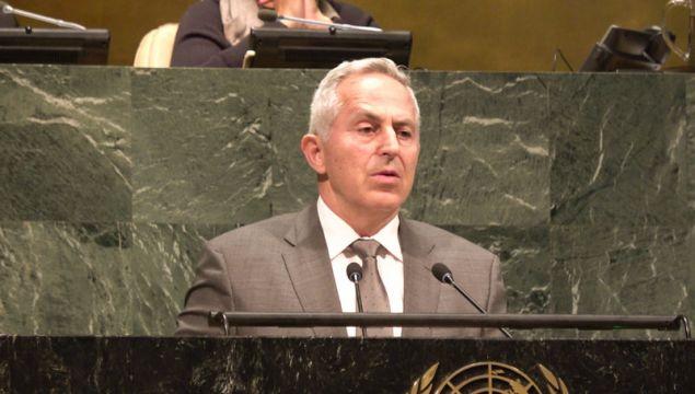 Ο υπ. Αμυνας Ευ. Αποστολάκης στο βήμα του ΟΗΕ (EUROKINISSI/ΥΕΘΑ)