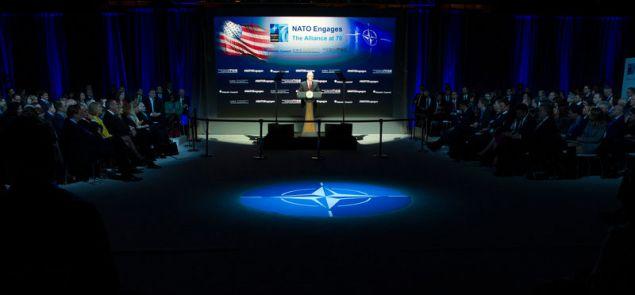 Ο αντιπρόεδρος των ΗΠΑ Μάικ Πένς μιλά στη Σύνοδο για τα 70 χρόνια του ΝΑΤΟ στην Ουάσιγκτον (AP Photo/Cliff Owen)
