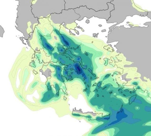 Προγνωστικός χάρτης για την κορύφωση της κακοκαιρίας / Πηγή: meteo.gr