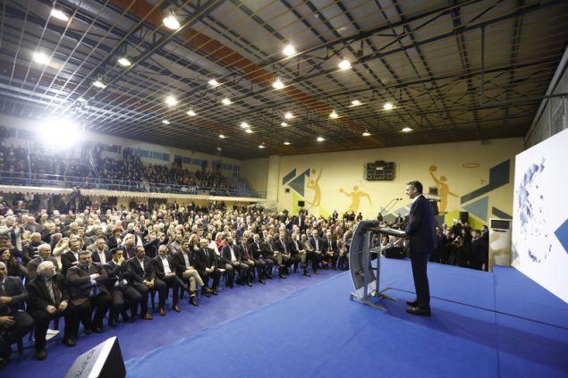 Ο πρόεδρος της ΝΔ κατά τη διάρκεια της ομιλίας του