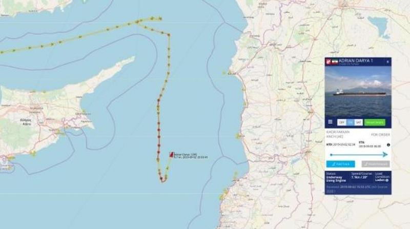 Σύμφωνα με το τελευταίο σήμα το Adrian Darya 1 βρισκόταν ανάμεσα στην Κύπρο και τη Συρία.